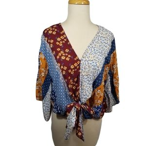 {Polly & Esther} Mixed Print Front Knot Top